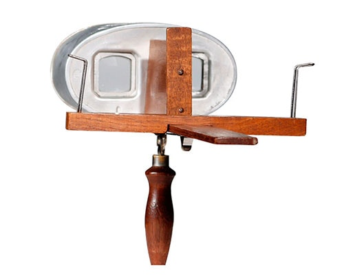 visor estereoscopico base madera